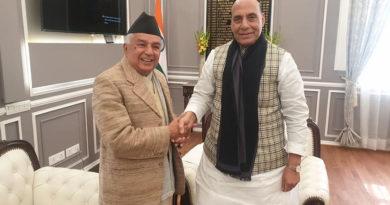 कांग्रेसका वरिष्ठ नेता पौडेल र भारतीय रक्षामन्त्री सिंहबीच भेटवार्ता